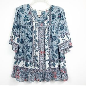 Knox Rose | Blue Floral Baby Doll Tassel Blouse